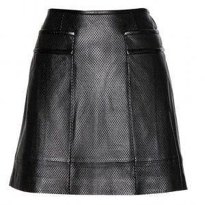 Tory Burch 6 Leather Perforated Mini Skirt Black